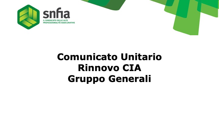 Gruppo Generali – Comunicato unitario rinnovo CIA